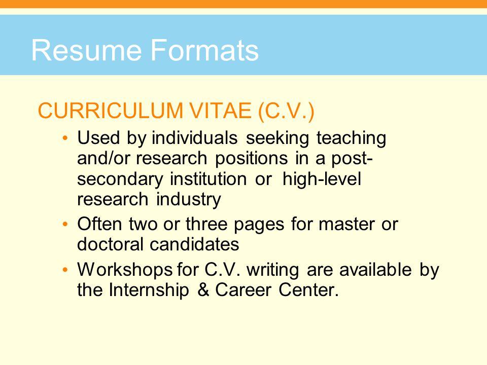 Resume Formats CURRICULUM VITAE (C.V.)