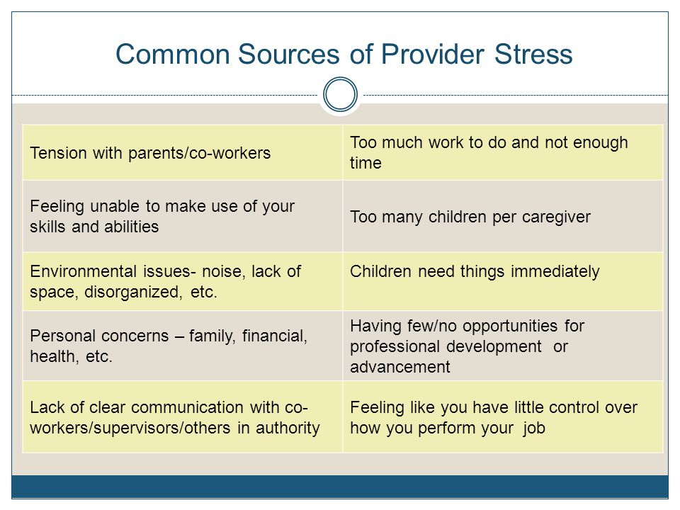 Common Sources of Provider Stress