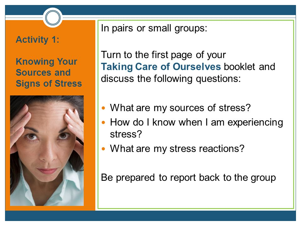 Activity 1: Knowing Your Sources and Signs of Stress