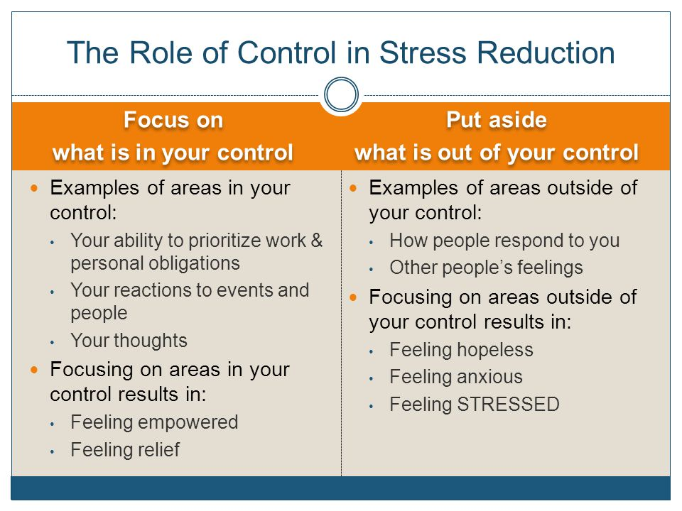 The Role of Control in Stress Reduction