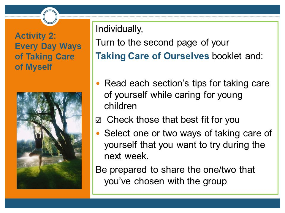 Activity 2: Every Day Ways of Taking Care of Myself