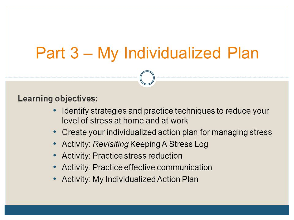 Part 3 – My Individualized Plan