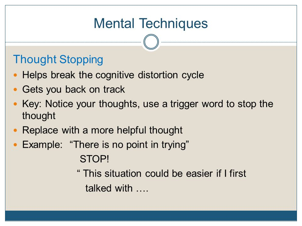 Mental Techniques Thought Stopping