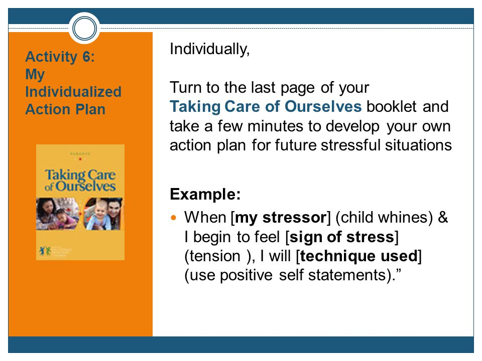 Activity 6: My Individualized Action Plan