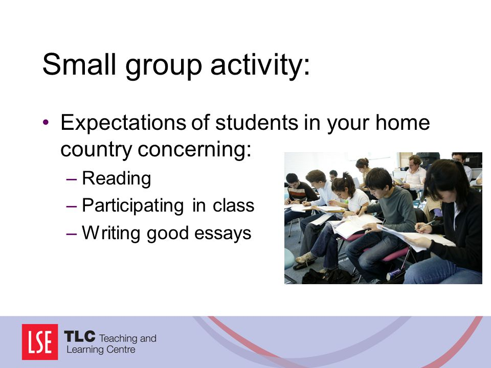 Small group activity: Expectations of students in your home country concerning: Reading. Participating in class.