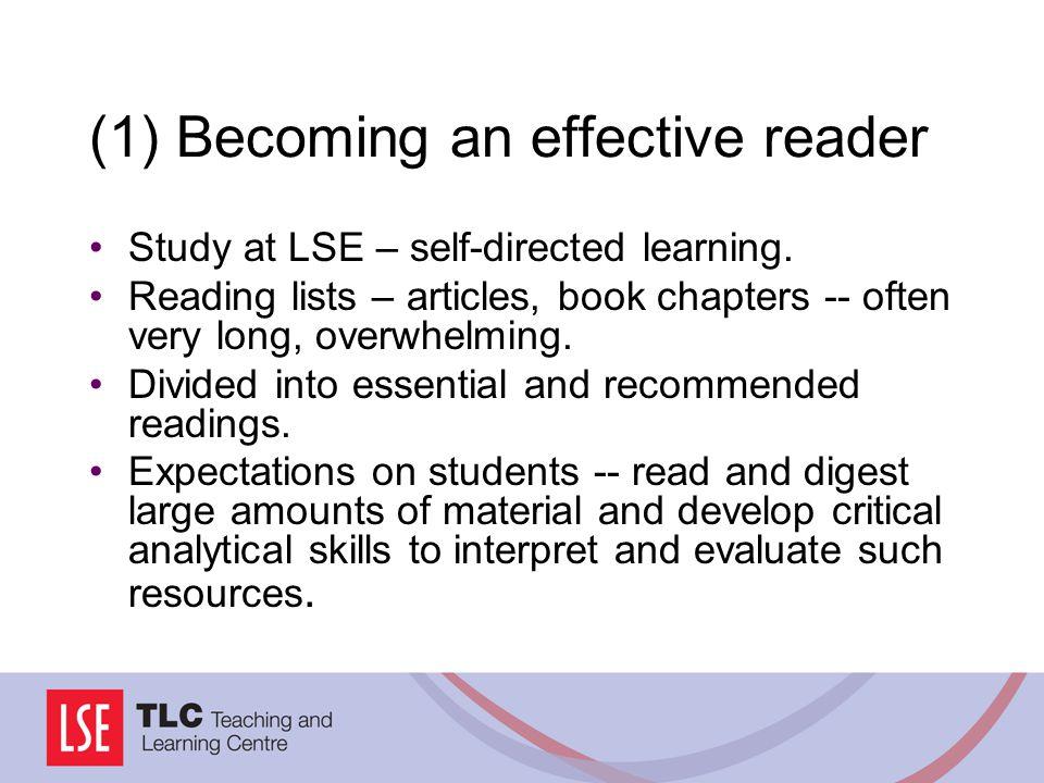 (1) Becoming an effective reader