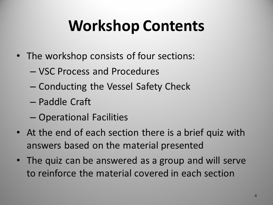Workshop Contents The workshop consists of four sections: