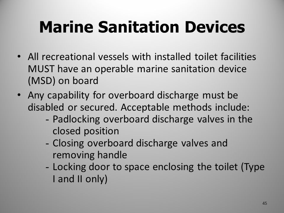 Marine Sanitation Devices