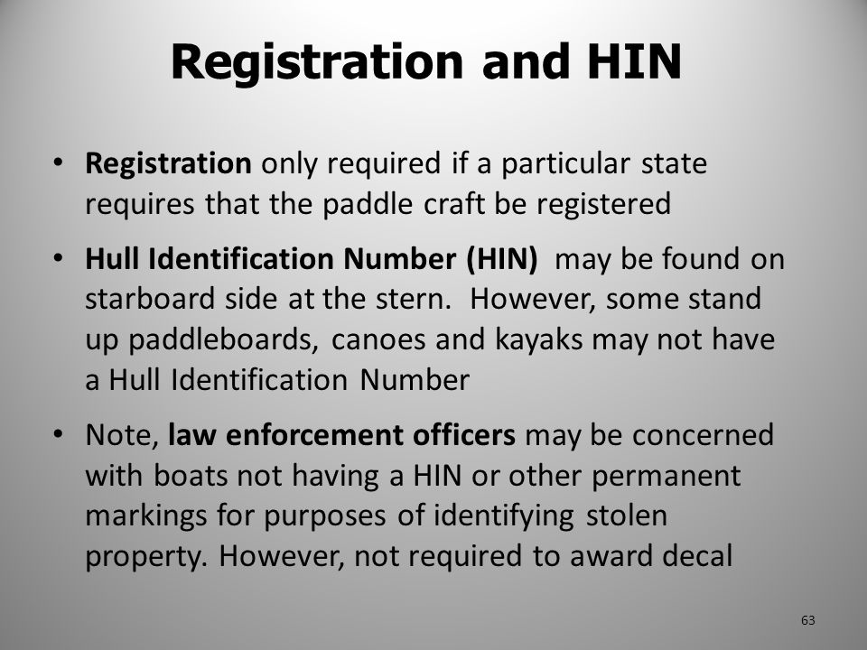 Registration and HIN Registration only required if a particular state requires that the paddle craft be registered.