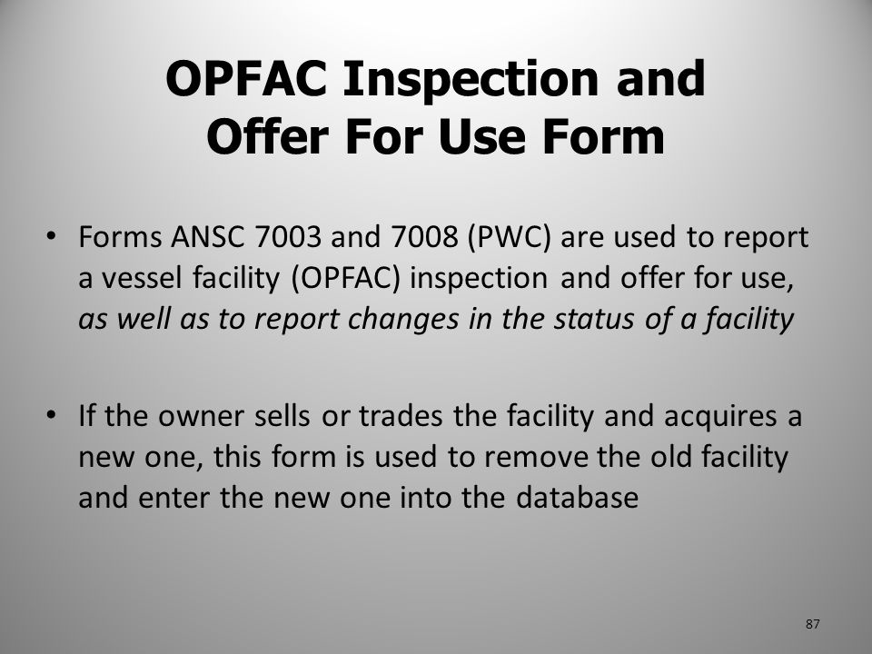 OPFAC Inspection and Offer For Use Form