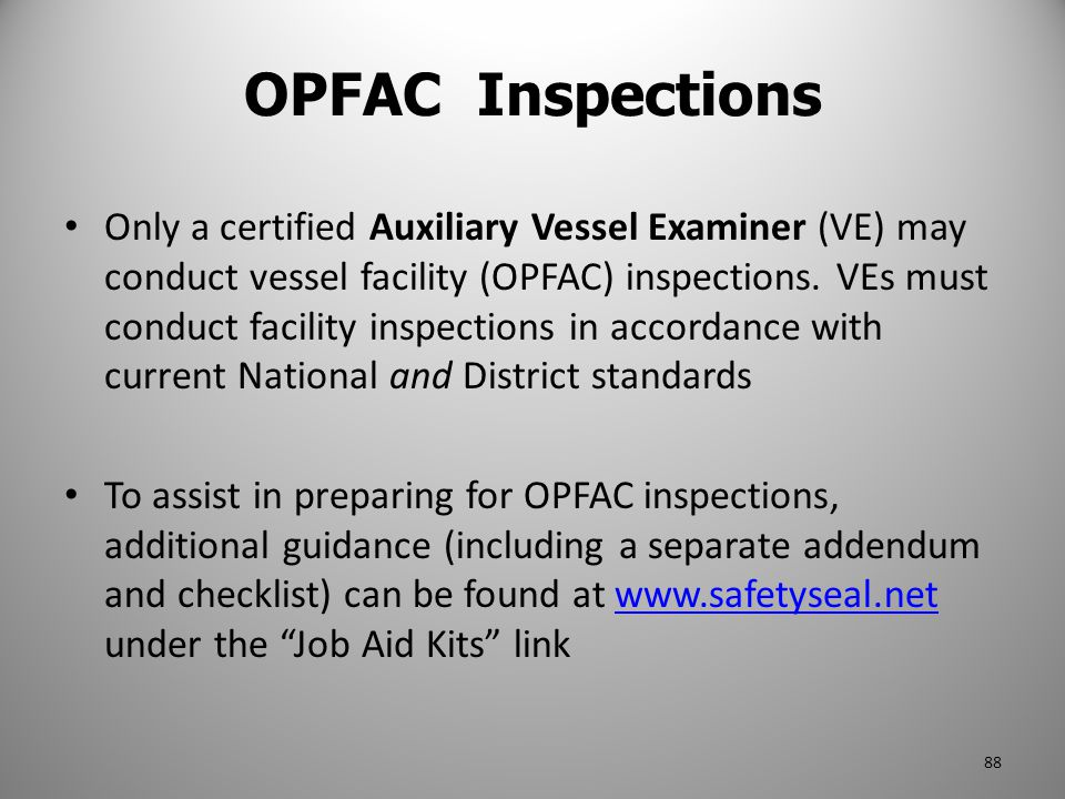 OPFAC Inspections