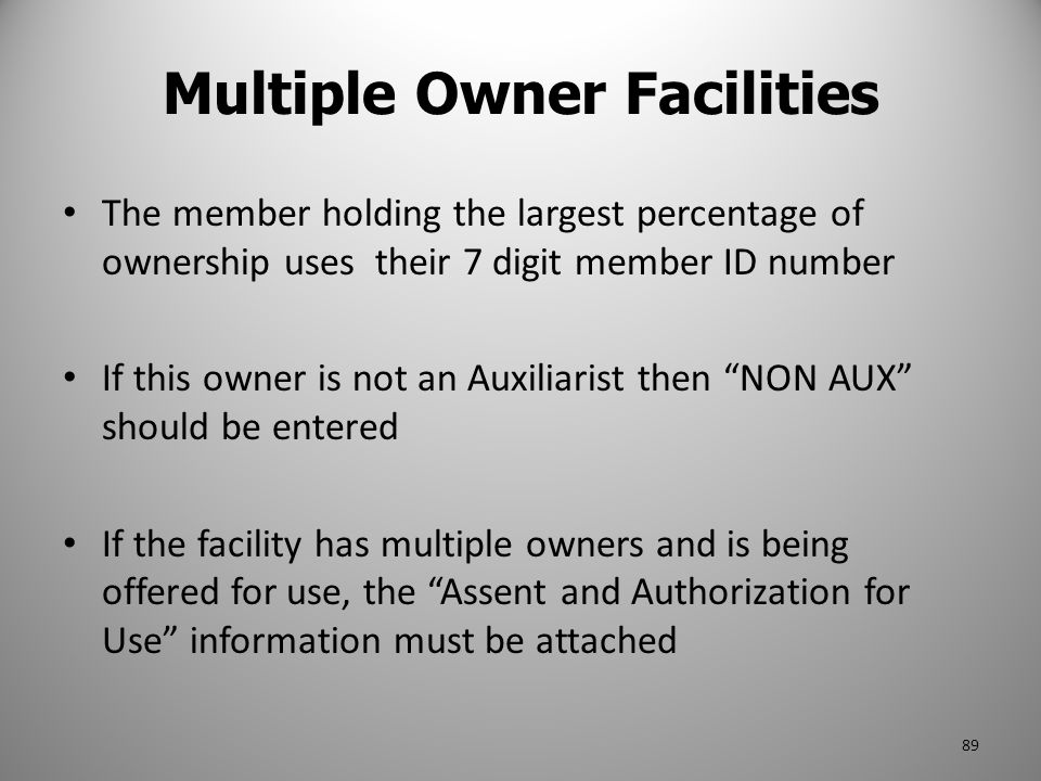 Multiple Owner Facilities