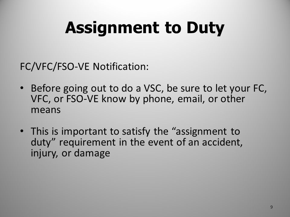 Assignment to Duty FC/VFC/FSO-VE Notification: