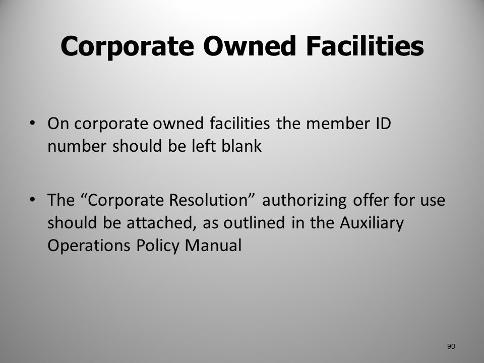 Corporate Owned Facilities