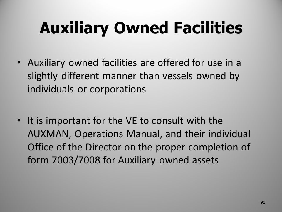 Auxiliary Owned Facilities