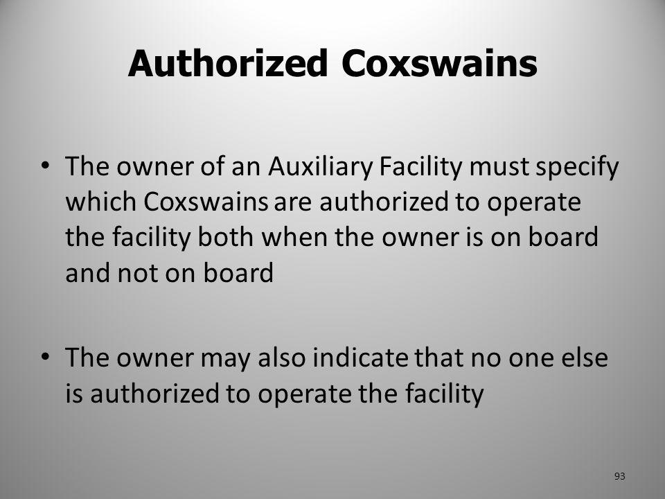 Authorized Coxswains