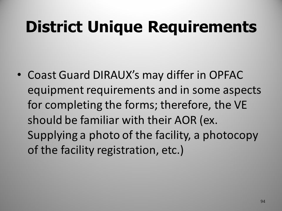 District Unique Requirements
