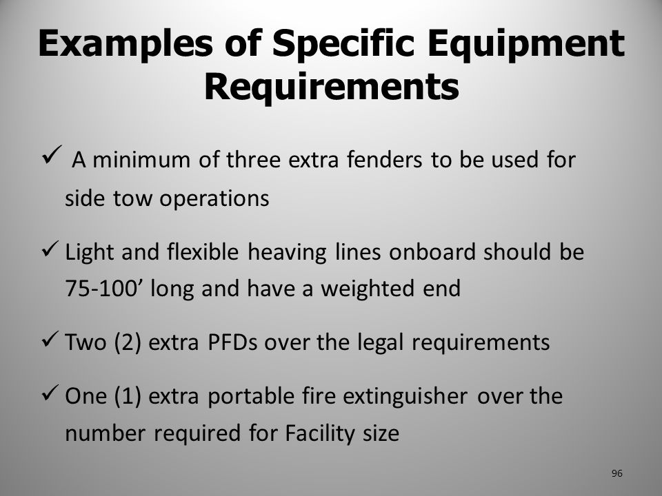 Examples of Specific Equipment Requirements
