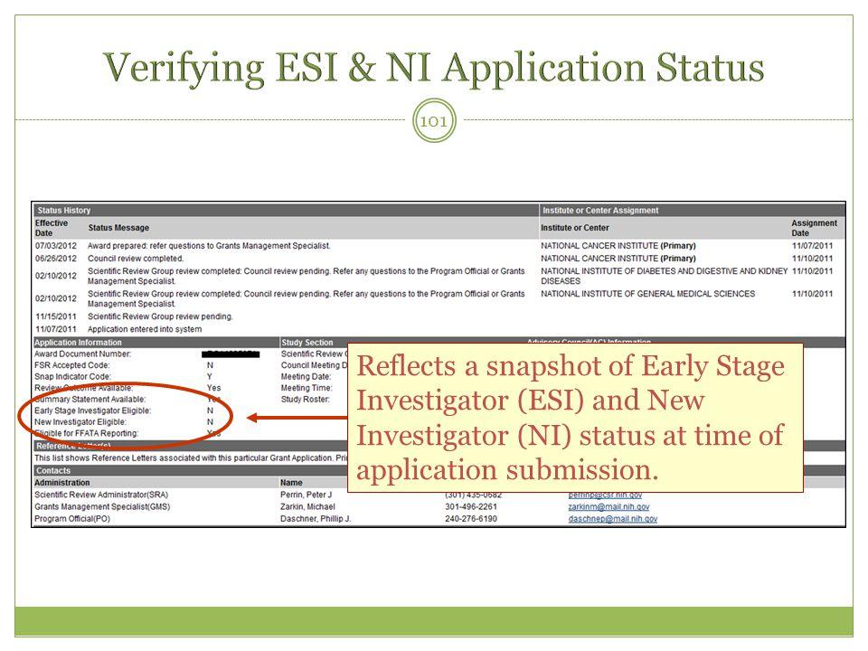 Verifying ESI & NI Application Status