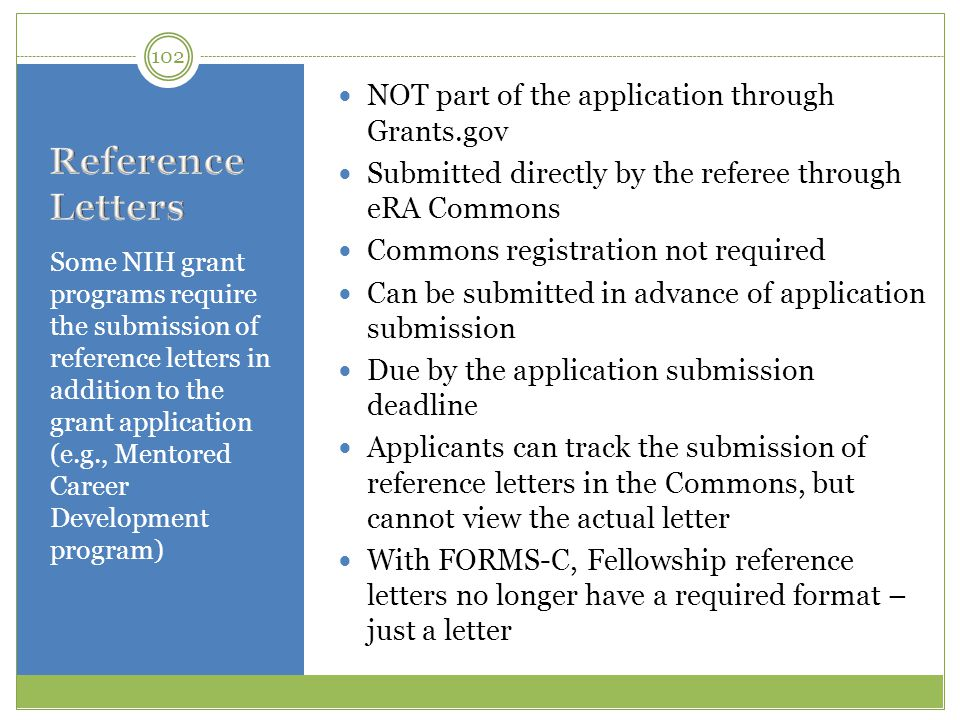 Reference Letters NOT part of the application through Grants.gov