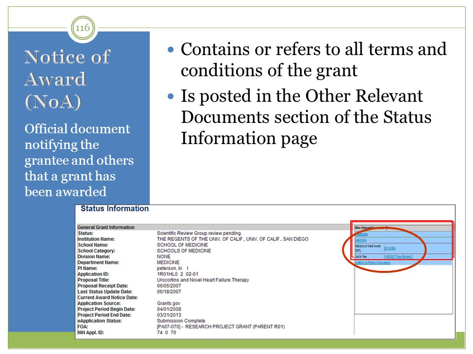 Contains or refers to all terms and conditions of the grant