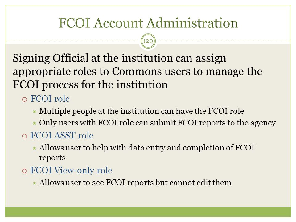 FCOI Account Administration