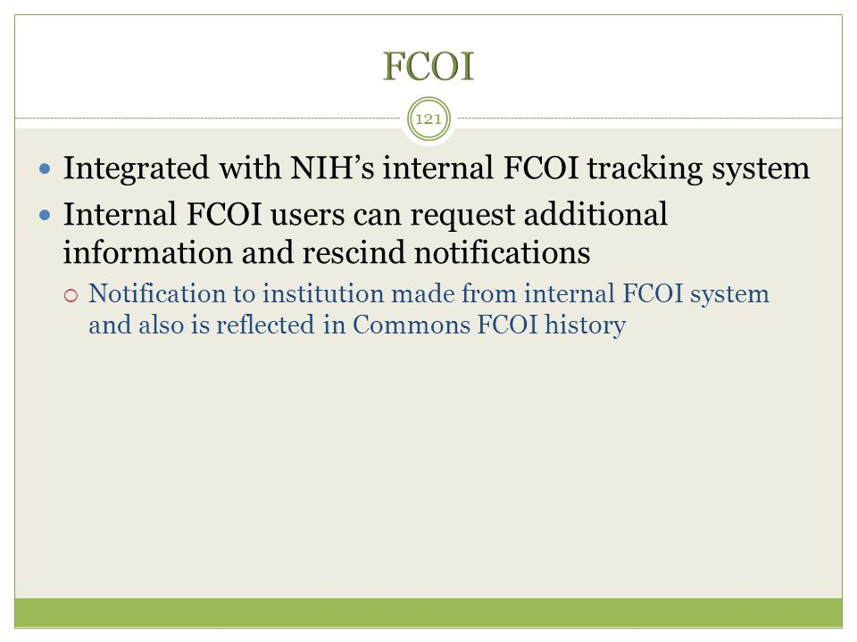 FCOI Integrated with NIH's internal FCOI tracking system