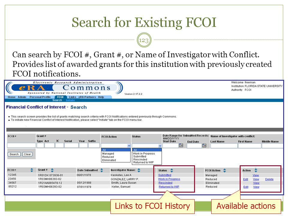 Search for Existing FCOI