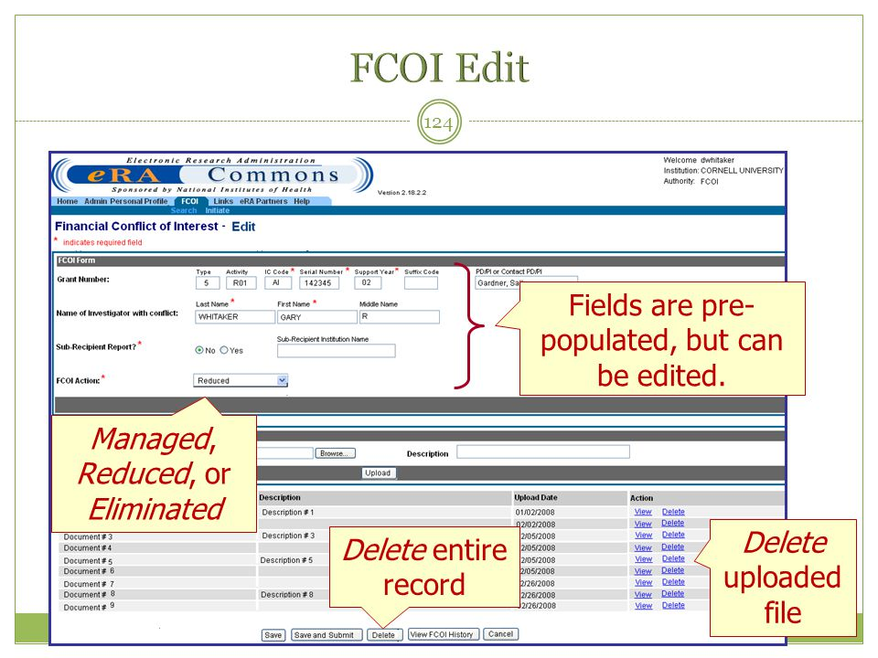 FCOI Edit Fields are pre-populated, but can be edited.