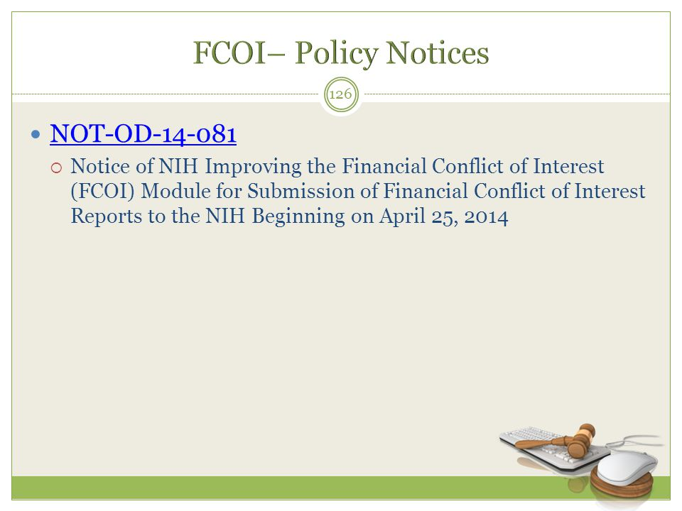 FCOI– Policy Notices NOT-OD