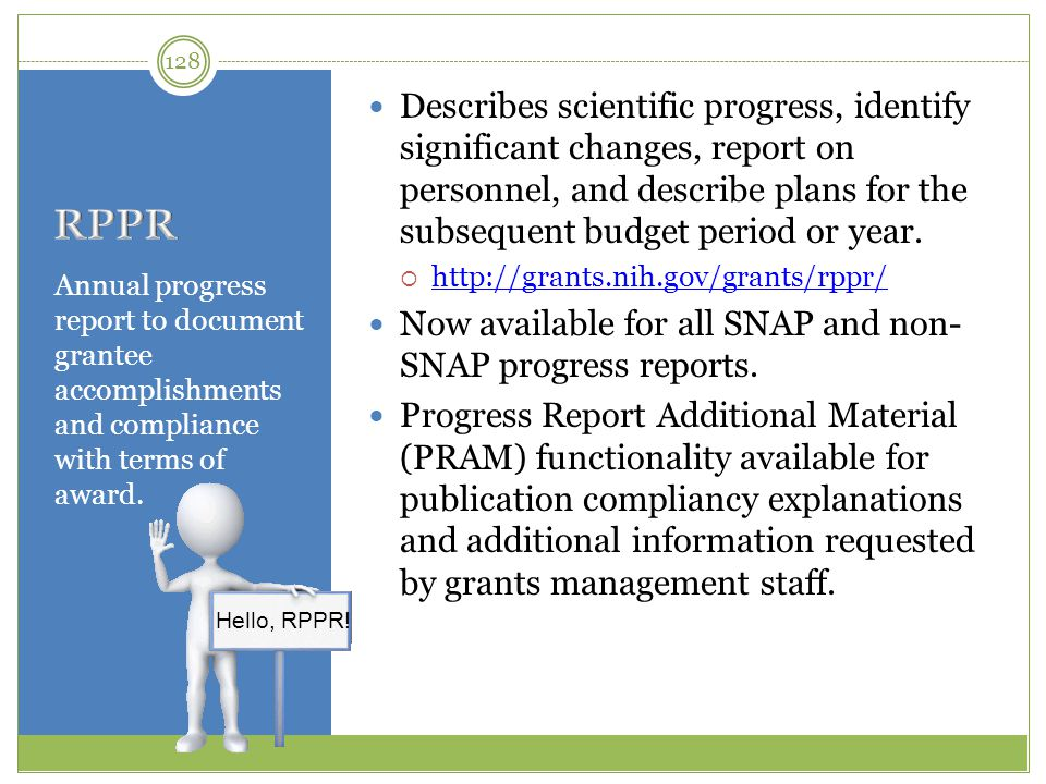 Describes scientific progress, identify significant changes, report on personnel, and describe plans for the subsequent budget period or year.