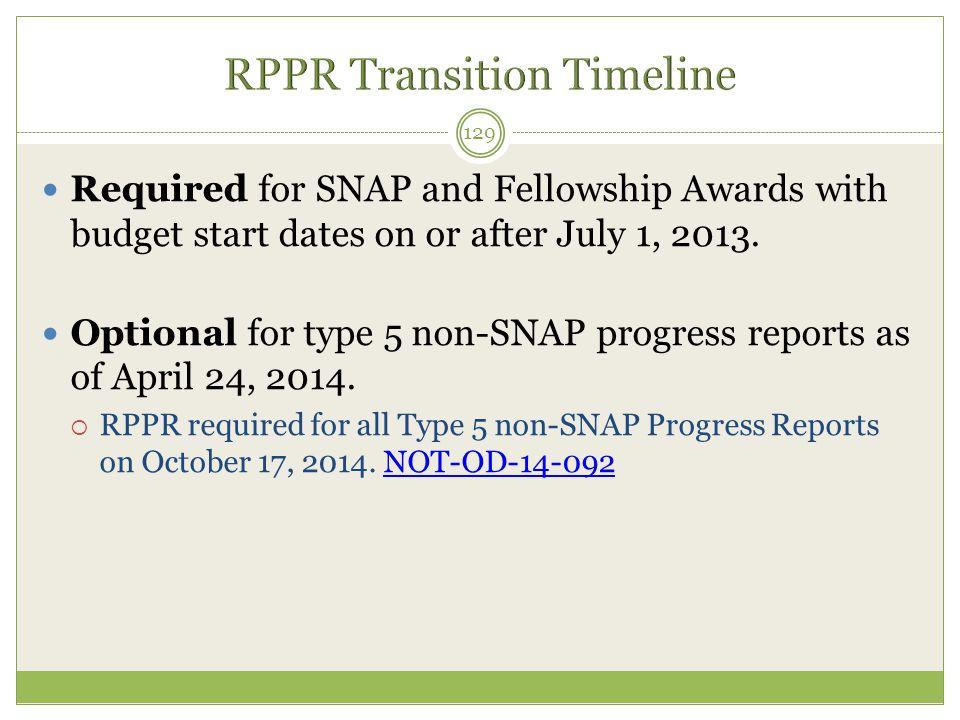 RPPR Transition Timeline