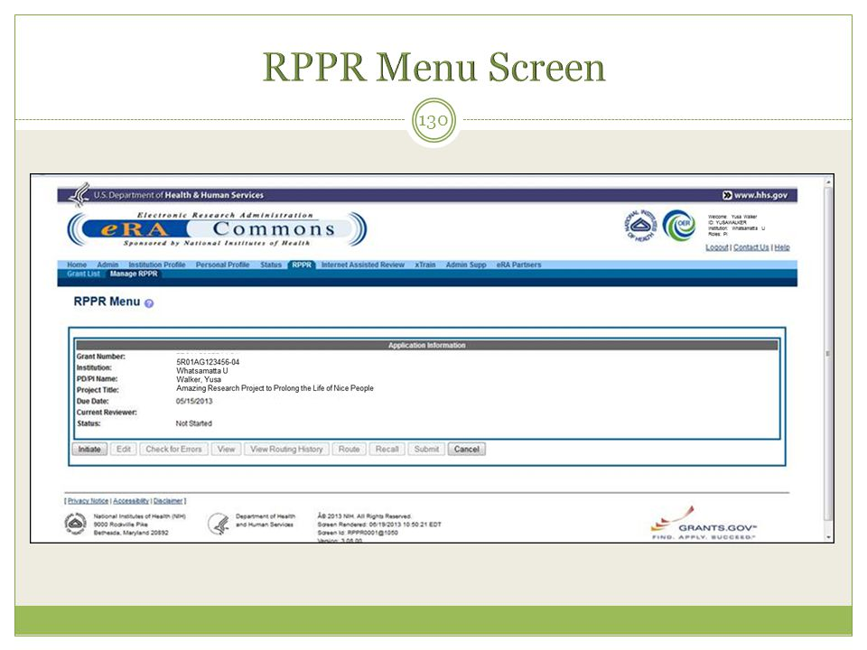 RPPR Menu Screen