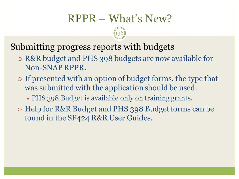 RPPR – What's New Submitting progress reports with budgets