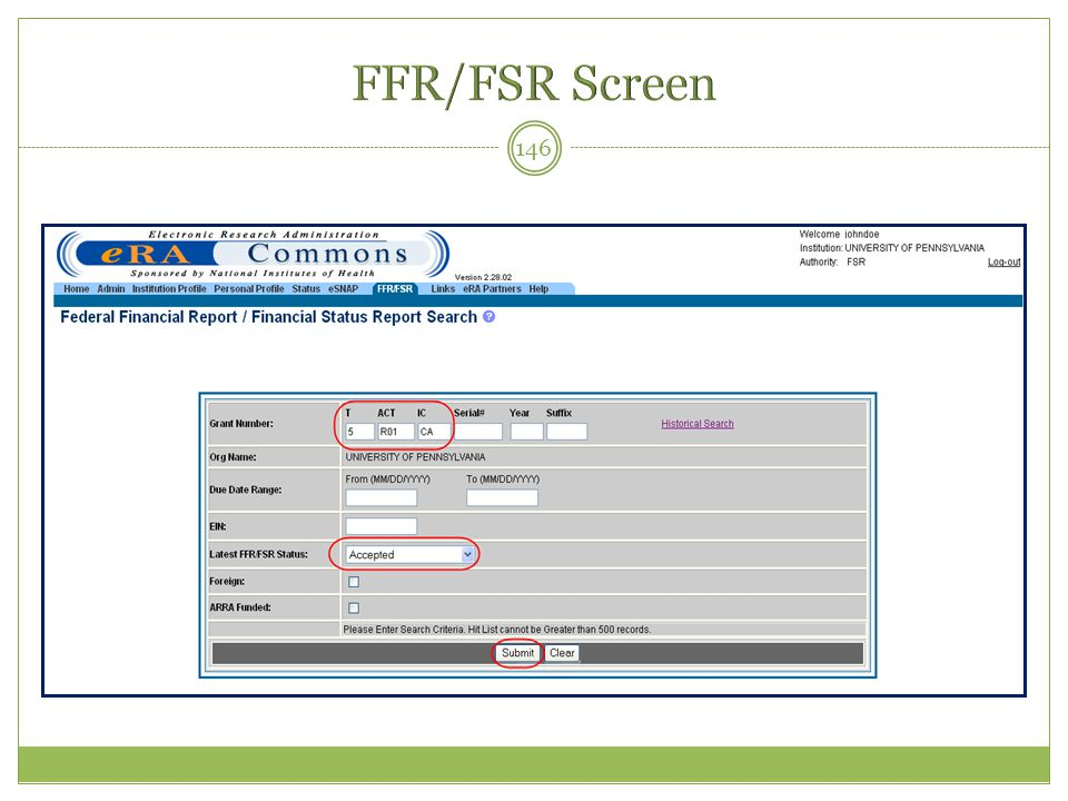 FFR/FSR Screen