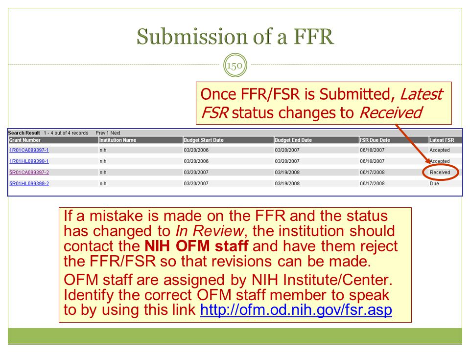 Submission of a FFR Once FFR/FSR is Submitted, Latest FSR status changes to Received.