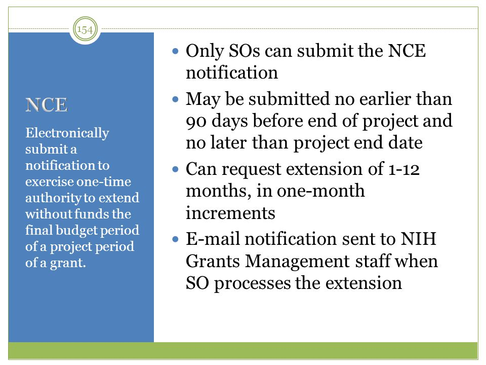 NCE Only SOs can submit the NCE notification