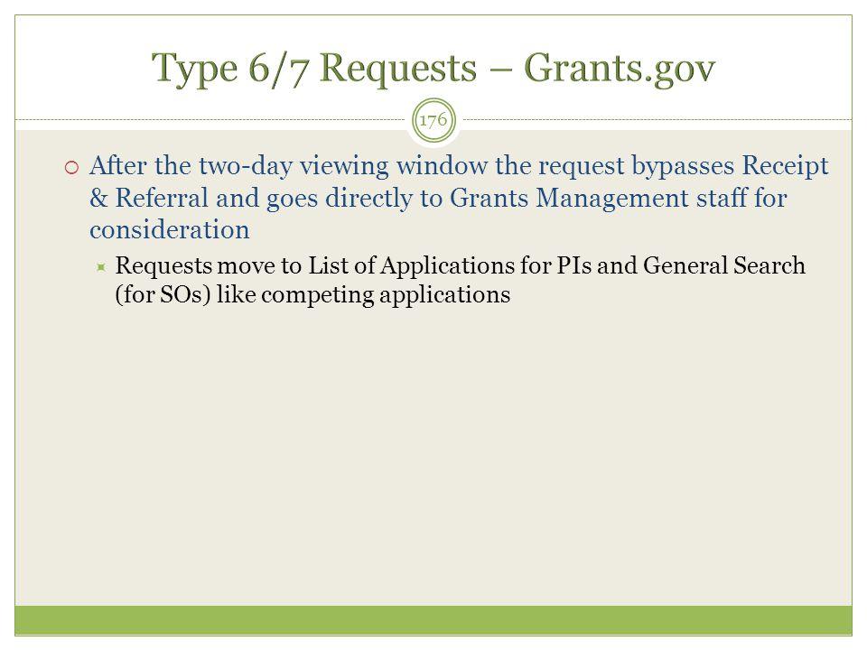 Type 6/7 Requests – Grants.gov