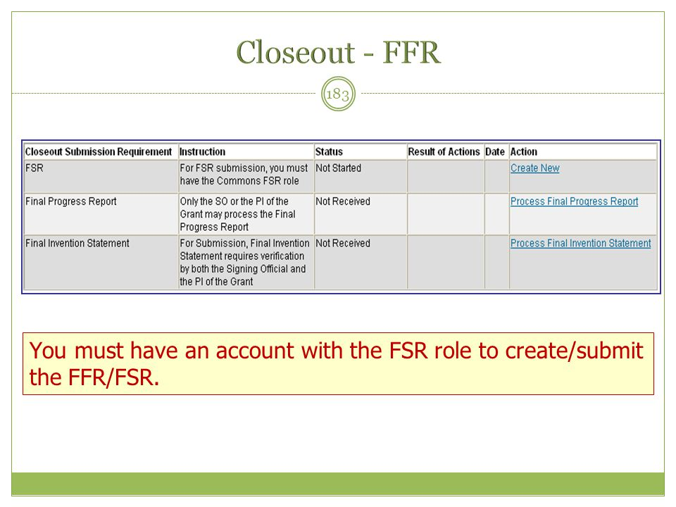 Closeout - FFR You must have an account with the FSR role to create/submit the FFR/FSR.
