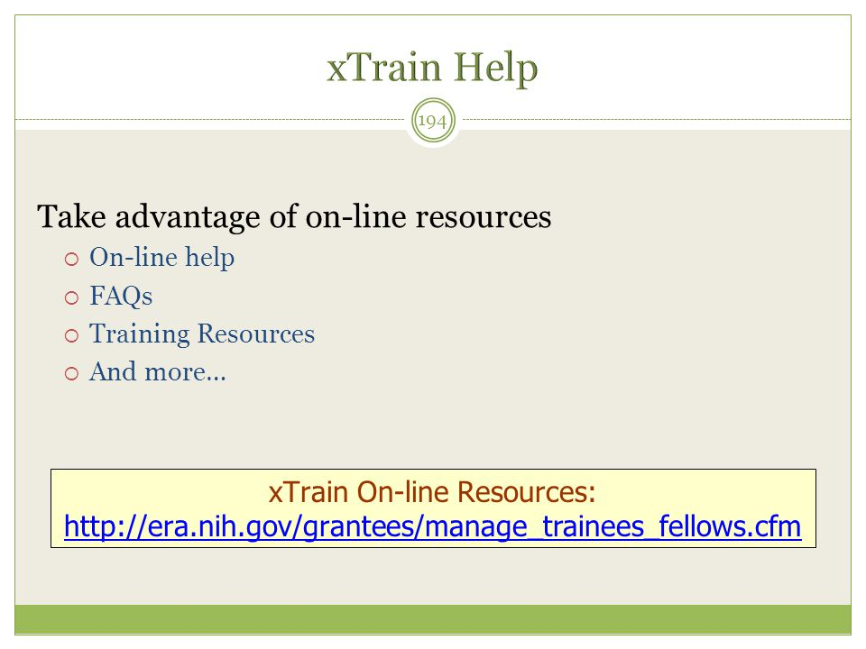 xTrain On-line Resources:
