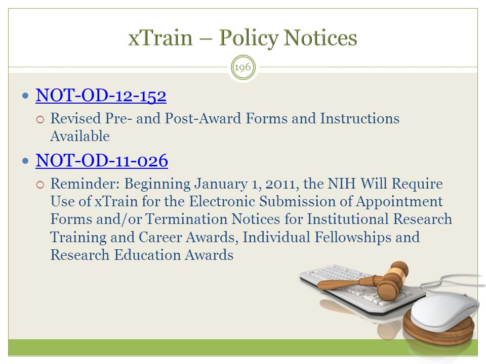 xTrain – Policy Notices