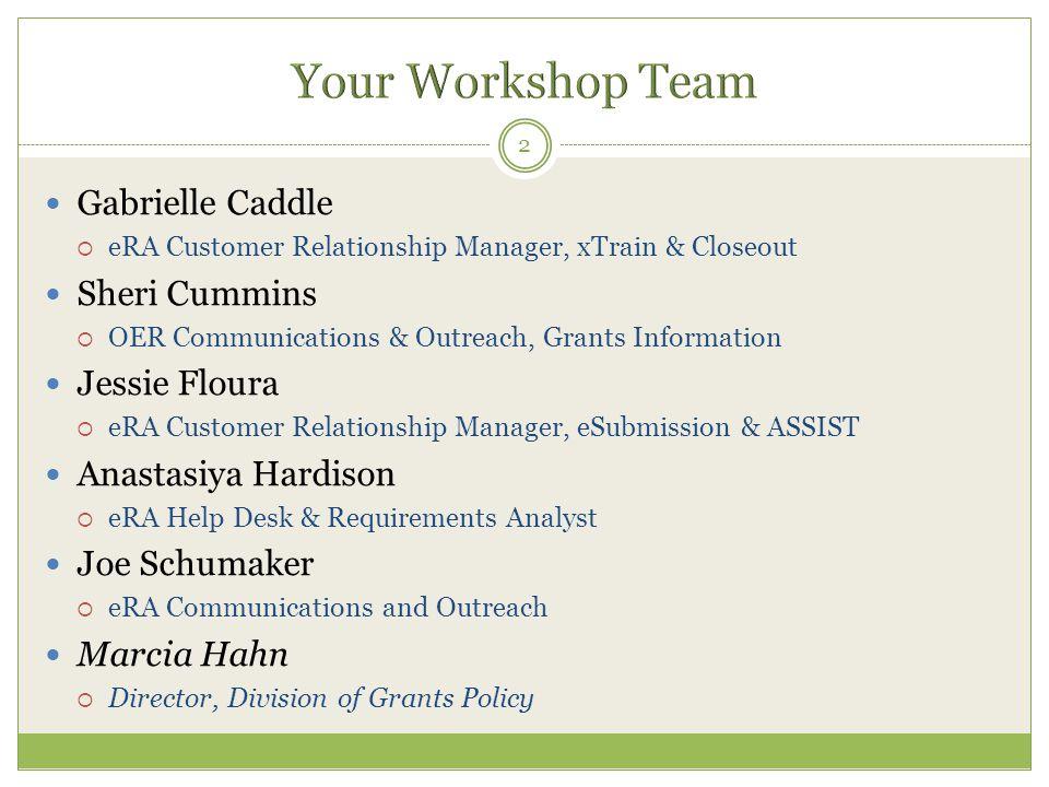 Your Workshop Team Gabrielle Caddle Sheri Cummins Jessie Floura
