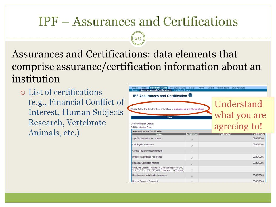 IPF – Assurances and Certifications