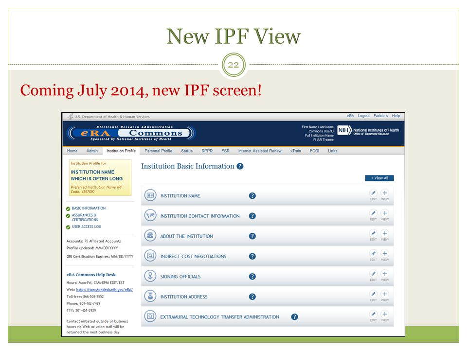 New IPF View Coming July 2014, new IPF screen!