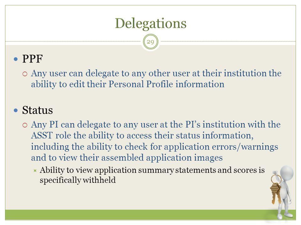 Delegations PPF Status