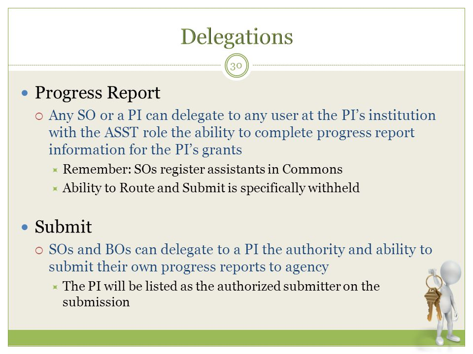 Delegations Progress Report Submit