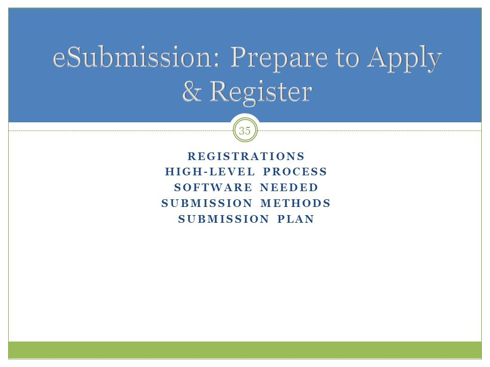 eSubmission: Prepare to Apply & Register