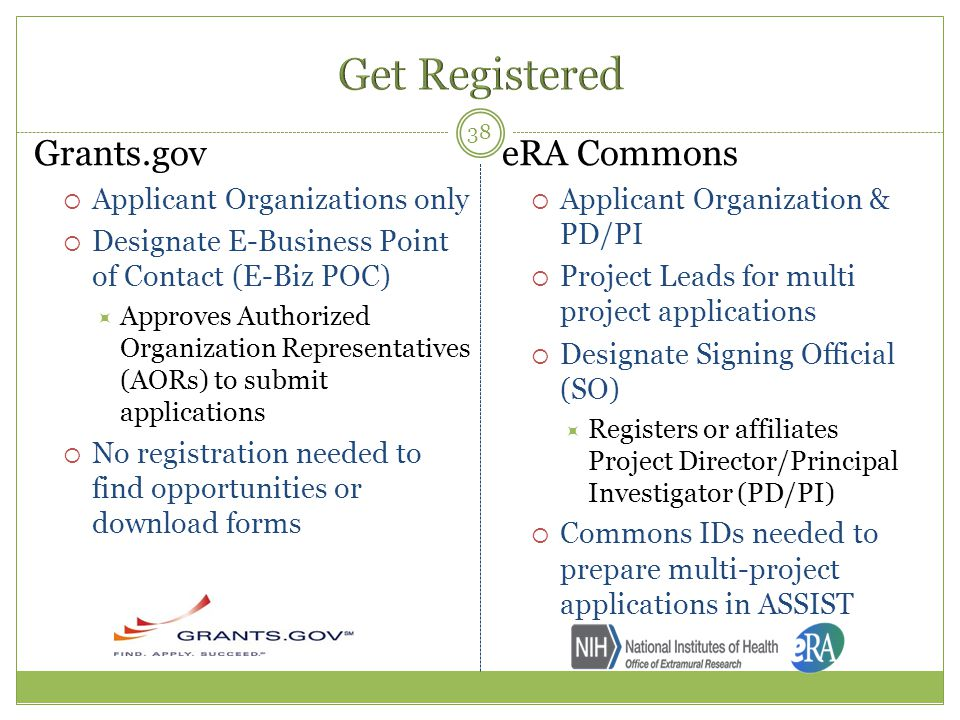 Get Registered Grants.gov eRA Commons Applicant Organizations only