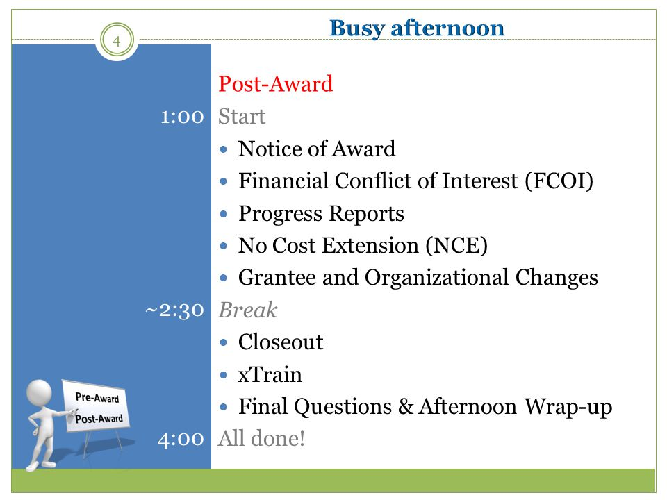 Busy afternoon Start. Notice of Award. Financial Conflict of Interest (FCOI) Progress Reports. No Cost Extension (NCE)