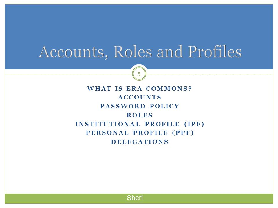 Accounts, Roles and Profiles